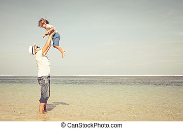 浜, 父, 遊び, 息子