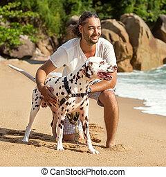 浜, 犬, 人