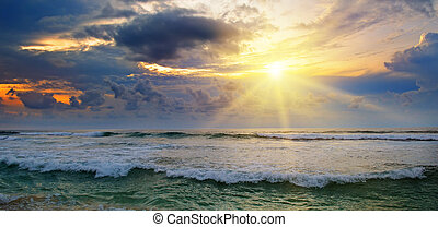 浜, 空, 日の出, 曇り, 海洋