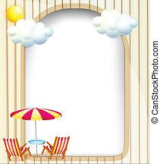 浜, 空, 椅子, 表面, 傘