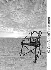 浜, 竹, 古い, モデル, 砂, 椅子