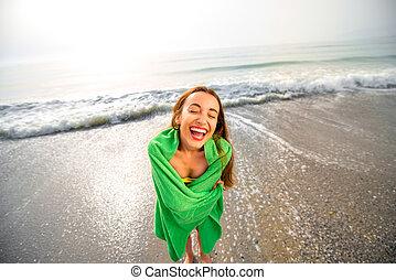 浜, 緑, 女, タオル