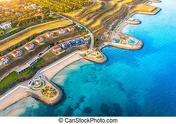 浜, 美しい, 町, 航空写真, コテッジ, 光景, 砂