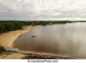 浜, 航空写真, 湖, 光景