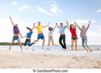 浜, 跳躍, グループ, 友人