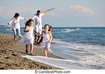 浜, 遊び, 幸せな家族, 犬