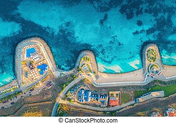 浜, 青, 日没, 航空写真, 海, 光景, レストラン, 砂