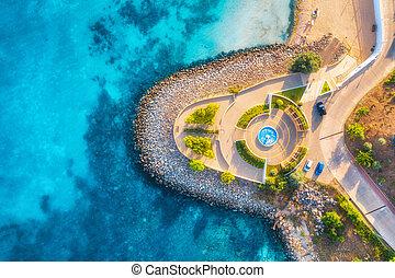 浜, 青, 美しい, プロムナード, 航空写真, 海, 光景, ゆとり, 砂