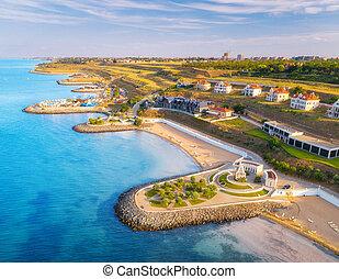 浜, 青, 美しい, プロムナード, 航空写真, 海, 光景, 砂
