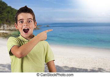 浜, 驚き, 旅行, ホリデー, 注意, 子供, 熱意