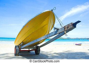 浜, 黄色, ボート