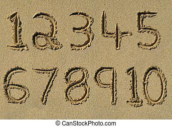 浜。, 10, 1(人・つ), 書かれた, 数, 砂