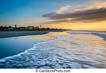 浜, carolina., 上に, 愚劣, 海洋, 大西洋, 日の出, 南