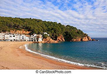 浜, (costa, brava, tamariu, spain)