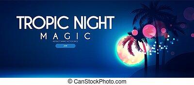 浜, effect., bokeh, 月, テンプレート, フルである, tropic, ポスター, パーティー, やし, night.