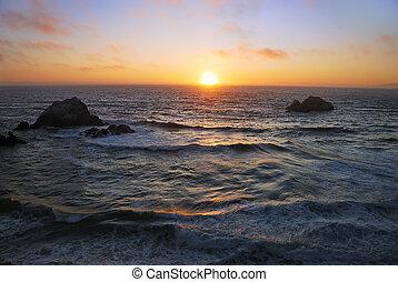 浜, francisco, 日没, san, 海洋