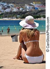 浜, la, scene., playa, teresitas., tenerife, カナリア, de