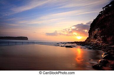 浜, macmasters, プール, 日の出, 海洋