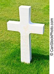 浜, omaha, 兵士, (colleville-sur-mer), 墓地, 交差点, 大理石, アメリカ人, ...