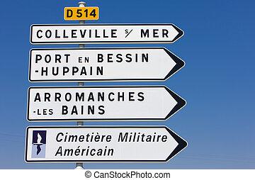 浜, omaha, 墓地, フランス, アメリカ人, 軍, ノルマンディー