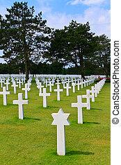 浜, omaha, (colleville-sur-mer), 墓地, アメリカ人, ノルマンディー, 戦争