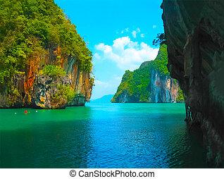 浜, railay, トロピカル, タイ, 景色。, krabi