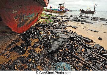浜。, spill., オイル, 汚染された