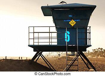 浜, sunset., ライフガード, カリフォルニア塔, 青