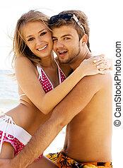 浪漫的夫婦, 上, the, 海邊