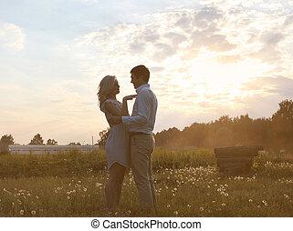 浪漫的夫婦, 在愛過程中, 夏天, 晚上, 傍晚