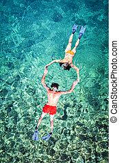 浪漫的夫婦, snorkeling, 在, 泰國