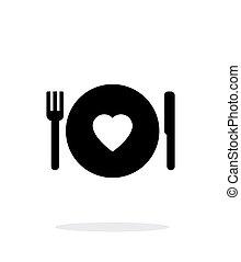 浪漫的晚餐, 圖象, 在懷特上, 背景。