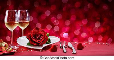 浪漫的晚餐, -, 落下的表, 為, valentine?s, 天