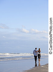 浪漫, 人和婦女, 夫婦走, 上, a, 海灘
