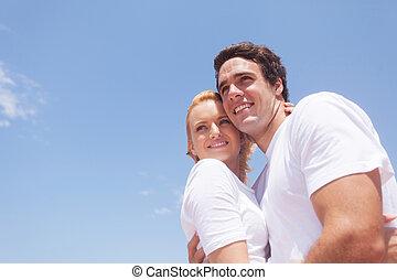 浪漫, 年輕夫婦, 在戶外