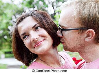 浪漫, 年輕夫婦, 在戶外, 肖像