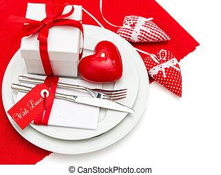 浪漫, 情人節, 蜡燭光, 晚餐