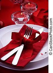 浪漫, 晚餐。, 餐具, 為, 情人節