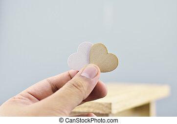 浪漫, 看, 手 藏品, 心, 符號
