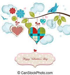 浪漫, 賀卡, 藍色, 鳥, 以及, 心