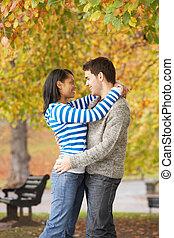 浪漫, 青少年夫婦, 在, 秋天, 公園