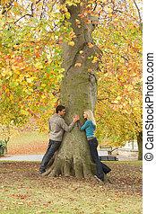浪漫, 青少年夫婦, 所作, 樹, 在, 秋天, 公園