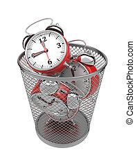 浪費時間, concept:, clocks, 在, 垃圾, bin.
