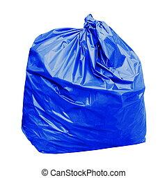 浪費, 藍色, 垃圾袋, 塑料, 由于, 概念, the, 顏色, ......的, 藍色, 廢料袋, 是, 一般, 浪費, (isolated, 在懷特上, background)