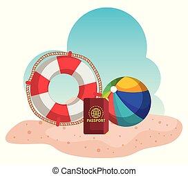 浮き, 砂, ボール, 浜, パスポート