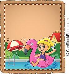 浮き, 1, 女の子, フラミンゴ, 羊皮紙