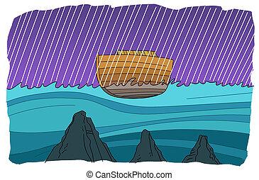 浮く, 世界的である, 洪水, noah's, の間, 避難所
