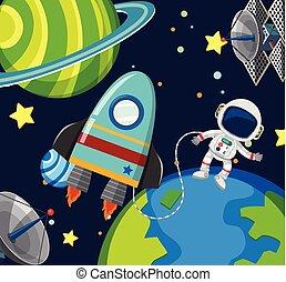 浮く, 宇宙飛行士, 宇宙船, スペース