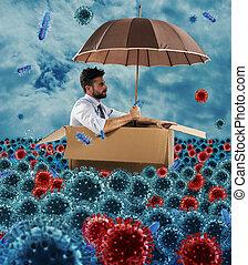 浮く, 海, ボール紙, ビジネスマン, pandemic, ウイルス, bacteria., 絶望的, 概念