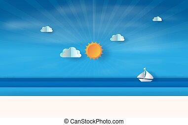 浮動, 夏天, 概念, 傍晚, 圖表, sky., 風格, 藝術, 看法, 矢量, 海邊, 工藝, 時間, 紙船, 季節, 設計, 傷口, 數字, 想法, 藍色, 插圖, 海, 風景